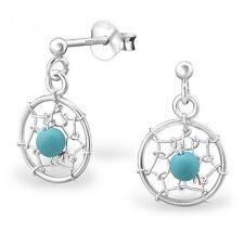 Sterling Silver 925 Dreamcatcher Blue Bead Dangle Stud Earrings