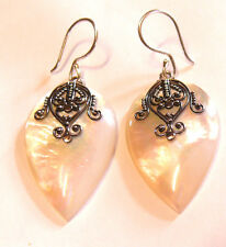 Boucles d'Oreilles Argent 925 Nacre Coquillage Earrings Silver 925 Shell Bijoux