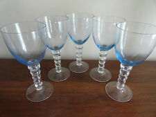 Vintage CANDLEWICK ICE Light  BLUE Glass Pane Water Goblets / Stems - Set 5