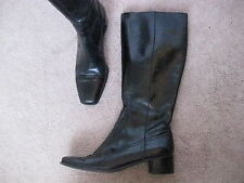 ENZO ANGIOLINI Black Leather Tall Knee Boots w/ Small Heel ARES 6.5 M - NICE