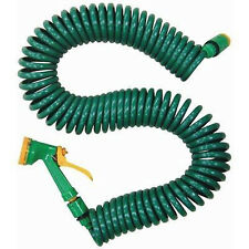 15m Coil Hose Watering Garden Plants Grass Spray Spraying+ Outside Tap Connector