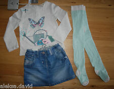 BNWT NEXT 18-24 months GIRLS BUTTERFLY TOP*DENIM SKIRT*TIGHTS SET/BUNDLE