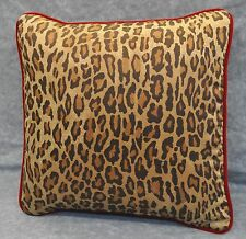 Pillow made w Ralph Lauren Venetian Leopard Animal Print Fabric w red velvet NEW