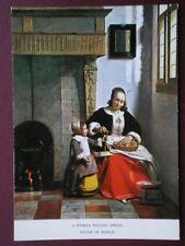 POSTCARD A WOMEN PEELING APPLES - PIETER DE HOOCH