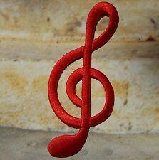 Ecusson thermocollant brodé Clé de sol - note de musique : Rouge