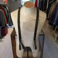 Vintage 1940s/50s/60s Green Leather Tip Button Braces Suspenders S M