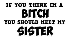 IF YOU THINK I'M A BITCH MEET MY SISTER -Family Themed Vinyl Sticker 19cm x 10cm