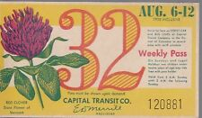 Trolly/Bus pass capital Transit Wash. DC--8/6/1950-Red Clover-----38
