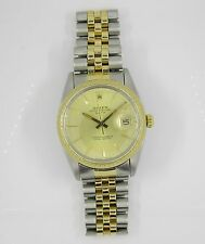 Rolex Oyster Date 18K Gold & SS Gold Dial Mens Ref 15053