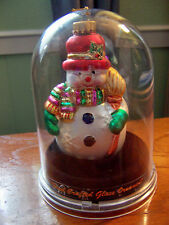 HAND CRAFTED GLASS ORNAMENT SNOWMAN IN DISPLAY CASE DESIGNER STUDIOS
