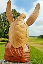 GORGEOUS TWO-TONE HANDCARVED WOOD TURTLE STATUE WITH REMOVABLE FINS!