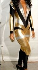 WOMENS GOLD BLACK PVC LEATHER LOOK CATSUIT CLUBWEAR COSTUME DRESS SIZES 12 14