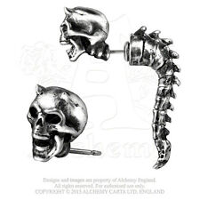 Wraith Spine Horned Skull Faux Ear Stretcher Post Earring E321 Alchemy Gothic
