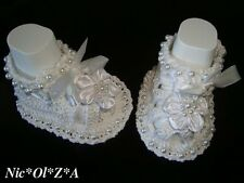 NEW BABY GIRL BAPTISM SHOES BOOTIES SANDALS WHITE WITH PEARLS 0 - 3 MONTHS