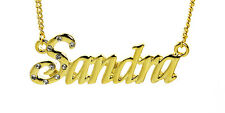 18K Gold Plated Necklace With Name SANDRA - Stylish Accessories Birthday Custom