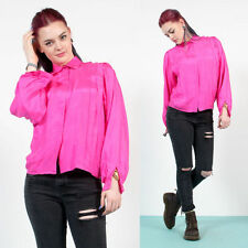 WOMENS VINTAGE BRIGHT PINK SILKY STYLE OVERIZE NEON PLEAT DETAIL FRONT SHIRT 10