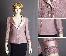 ST.JOHN EVENING TEXTURED KNIT ORCHID PINK JACKET W/SATIN COLLAR SIZE 8 AMAZING!