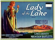 Fruit Crate Label Art Print Lady Of The Lake Pears Lake County Mountain Barletts