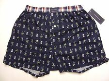NWT Tommy Hilfiger Men Football Player Print 100% Woven Cotton Fly Boxer Navy S