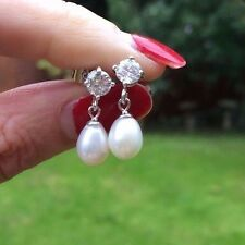 FRESHWATER PEARL DROP BRIDAL EARRINGS STERLING SILVER VINTAGE HANDMADE DESIGNER