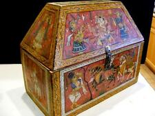 Antique Hand Painted SCENE Wooden HINDU BOX Ganesh Lord Success Wealth Religious