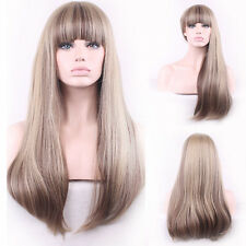 Women Sexy Heat Resistant Wig Natural Long Straight Neat Bang Front Wigs