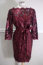 TADASHI SHOJI Petite Women's Red Wine Sequin Lace Dress Size 12P (r1000