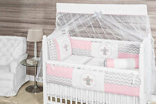 Elephant Themed Pink/Chevron Baby Girl 10pc Nursery Crib Bedding Set Embroidered