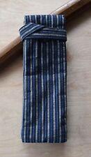 Japanese Sword Bag Cotton padded shirasaya  wakizashi thin grey blue striped W6