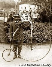 Man with Penny Farthing Bicycle Smoking a Pipe - Historic Photo Print