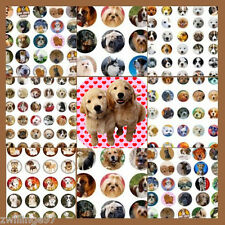100 Pre-Cut assorted DOGS and PUPPIES BOTTLE CAP IMAGES Variety 1 inch circles