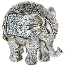 NEW Large Silver Crackle Elephant Statue Ornament Figurine