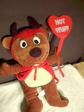 "Devil Bear Doll Plush Valentine Heart Peek a Boo Toys Stuffed Animal 14"" w tags"