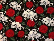 Alexander Henry 2001 Skulls w Red Roses Fabric ~ 44 x 17 remnant