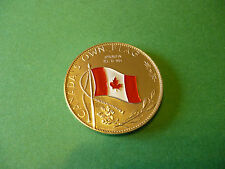 1867-1967 Canada Own Flag Enemelled in colour on Nickel Medallion, Silver Colour