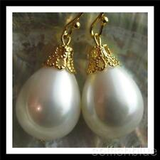 Gold Plated HUGE AAA Teardrop Drip Seashell Pearl Earrings Australia Seller 153