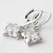 Fashion Womens Sterling Silver Clear Crystal Crystal Square Dangle Earrings