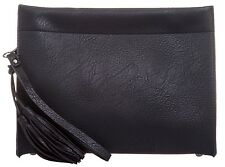 Faux Leather Tassels Clutch Bag Envelope Evening Handbag Simple Plain Oversized