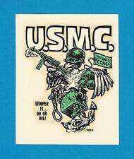 """VINTAGE ORIGINAL 1966 ED ROTH """"U.S.M.C."""" SEMPER FI...DO OR DIE! WATER DECAL ART"""