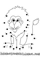 Children image picture dot to dot photo book pic lion 100