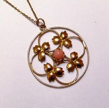 Edwardian Pink Angel Skin Coral 9ct Gold Necklace Pendant