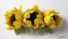Triple Yellow Sunflower Bud Silk Flower Hair Comb,Pin up,Updo,Rockabilly,Bun
