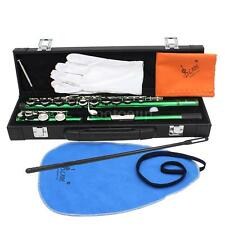 Western Concert Flute Cupronickel Plated 16 Holes C Key with Case Green I8P4