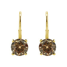 0.75 Carat Natural Champagne Diamond Leverback Pair Earrings 14k Yellow Gold