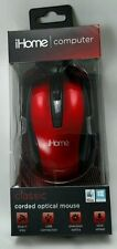 iHome Computer Classic Corded Optical Mouse Click Wheel Model IH-M600R Red