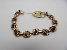 QUALITY VICTORIAN 9 CARAT ROSE GOLD FANCY LINK BRACELET & PADLOCK WITH GARNETS