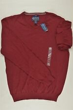 NEW MEN'S AMERICAN RAG SOLID V-NECK SWEATER GARNET STONE SZ XL $39.5 #51-24492