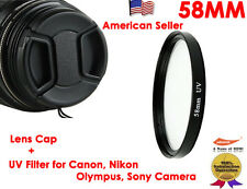 58MM LENS Cap + UV FILTER for Canon,Nikon,Sony,Olympus,Pentax,Panasonic Camera