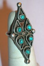 VINTAGE STERLING SILVER ZUNI PETIT POINT WOMEN'S TURQUOISE RING S. 4.25