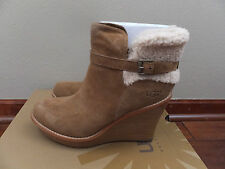 New UGG Womens Sz 12 Chestnut Brown Suede ANAIS Wedge Heel Fashion Boots 1003064